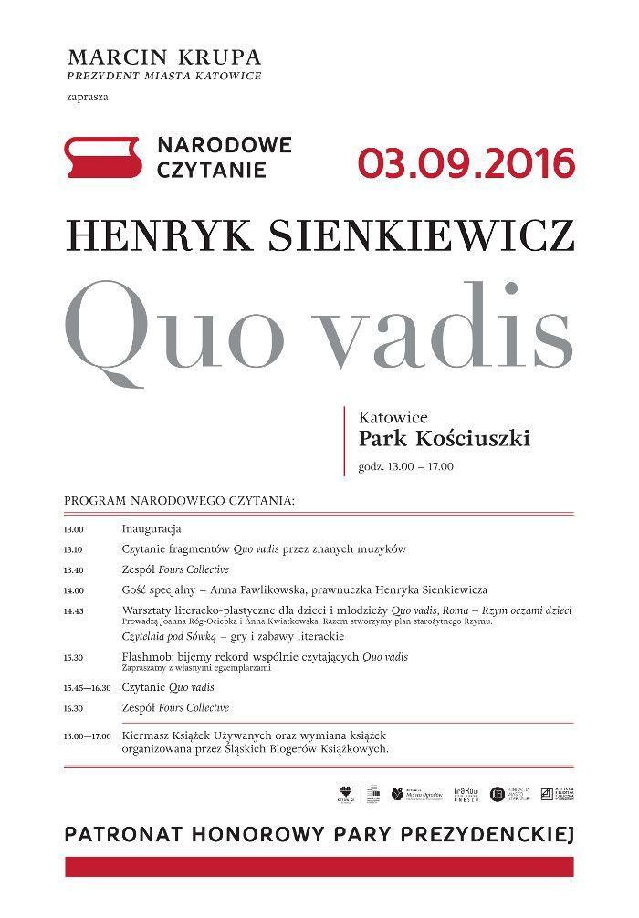 """""""QUO VADIS"""" - HENRYKA SIENKIEWICZ LEKTURĄ NARODOWEGO CZYTANIA W 2016 ROKU."""